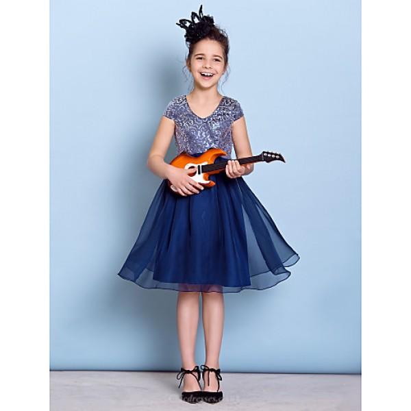 Knee-length Chiffon Junior Bridesmaid Dress
