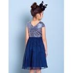 Knee-length Chiffon Junior Bridesmaid Dress - Dark Navy A-line V-neck Junior Bridesmaid Dresses