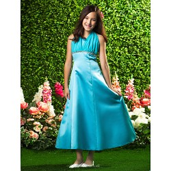 Ankle Length Satin Chiffon Junior Bridesmaid Dress Pool A Line Princess Halter