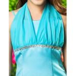 Ankle-length Satin / Chiffon Junior Bridesmaid Dress - Pool A-line / Princess Halter Junior Bridesmaid Dresses