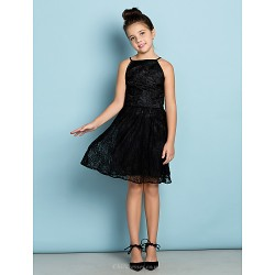 Knee Length Lace Junior Bridesmaid Dress Black A Line Spaghetti Straps