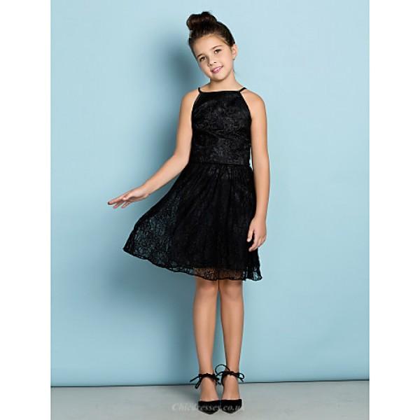 Knee-length Lace Junior Bridesmaid Dress - Black A-line Spaghetti Straps Junior Bridesmaid Dresses