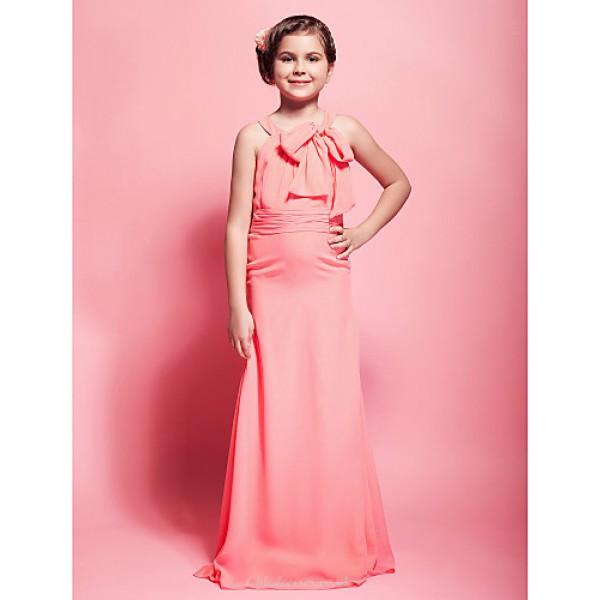 Floor Length Chiffon Junior Bridesmaid Dress Watermelon Sheath Column Scoop