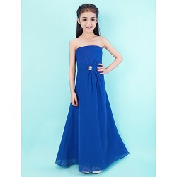 Floor-length Chiffon Junior Bridesmaid Dress - Royal Blue A-line Strapless