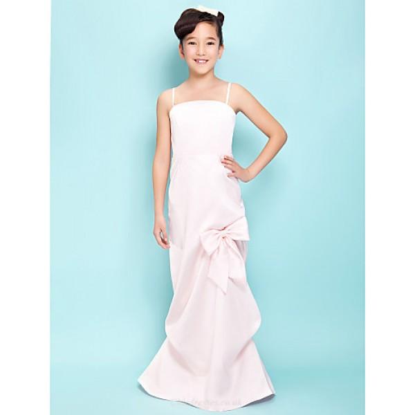 Floor-length Satin Junior Bridesmaid Dress - Blushing Pink Sheath/Column / A-line Spaghetti Straps / Square Junior Bridesmaid Dresses