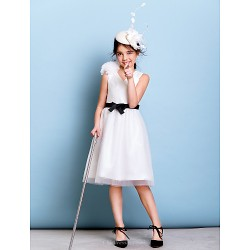 Knee Length Tulle Junior Bridesmaid Dress Ivory A Line V Neck