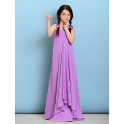 Floor Length Chiffon Junior Bridesmaid Dress Lilac Sheath Column Spaghetti Straps