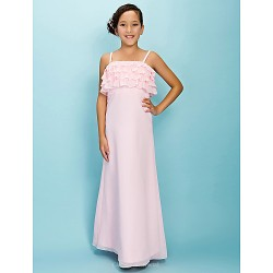 Floor-length Chiffon Junior Bridesmaid Dress - Blushing Pink Sheath/Column / A-line Spaghetti Straps