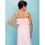 Floor-length Chiffon Junior Bridesmaid Dress - Blushing Pink Sheath/Column / A-line Spaghetti Straps Junior Bridesmaid Dresses