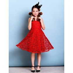 Knee Length Lace Junior Bridesmaid Dress Ruby A Line V Neck