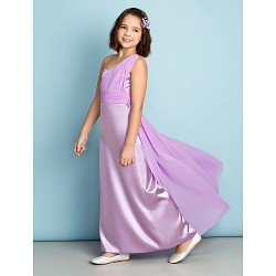Ankle Length Chiffon Charmeuse Junior Bridesmaid Dress Lilac A Line One Shoulder
