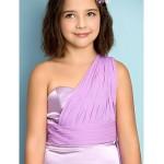 Ankle-length Chiffon / Charmeuse Junior Bridesmaid Dress - Lilac A-line One Shoulder Junior Bridesmaid Dresses