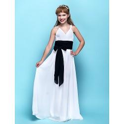 Floor-length Chiffon Junior Bridesmaid Dress - White Sheath/Column V-neck
