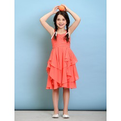 Knee Length Chiffon Junior Bridesmaid Dress Watermelon A Line Straps