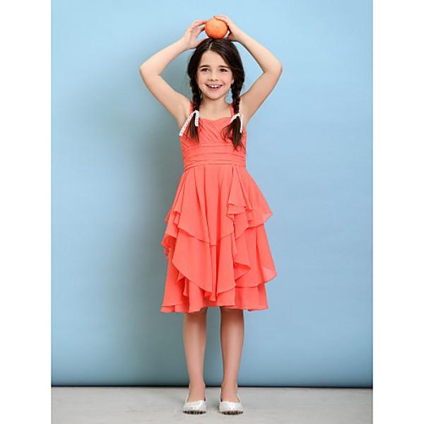 Knee-length Chiffon Junior Bridesmaid Dress - Watermelon A-line Straps Junior Bridesmaid Dresses