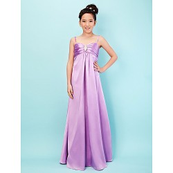 Floor-length Stretch Satin Junior Bridesmaid Dress - Lilac A-line / Princess Spaghetti Straps / Sweetheart
