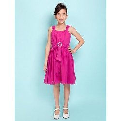 Knee-length Chiffon Junior Bridesmaid Dress - Fuchsia A-line / Princess Straps / Square