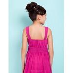 Knee-length Chiffon Junior Bridesmaid Dress - Fuchsia A-line / Princess Straps / Square Junior Bridesmaid Dresses