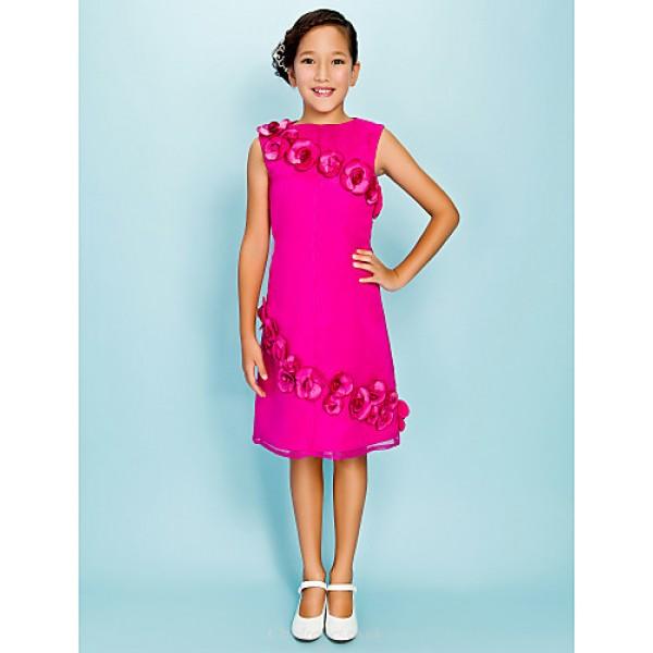 Knee-length Organza Junior Bridesmaid Dress - Fuchsia Sheath/Column Jewel Junior Bridesmaid Dresses