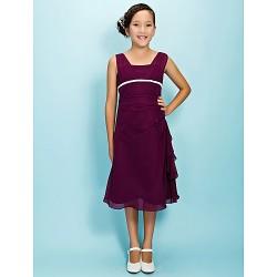 Tea-length Chiffon Junior Bridesmaid Dress - Grape A-line Square