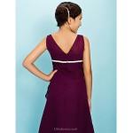 Tea-length Chiffon Junior Bridesmaid Dress - Grape A-line Square Junior Bridesmaid Dresses