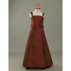 Floor Length Taffeta Junior Bridesmaid Dress Burgundy A Line Princess Straps
