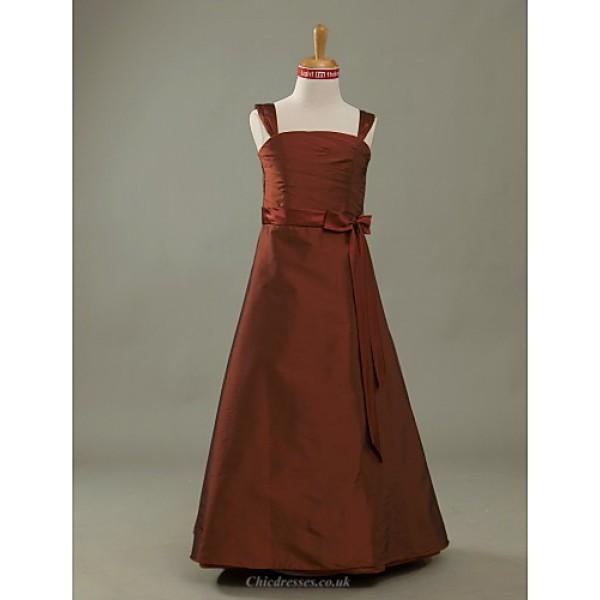 Floor-length Taffeta Junior Bridesmaid Dress - Burgundy A-line / Princess Straps Junior Bridesmaid Dresses