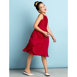 Knee-length Chiffon / Lace Junior Bridesmaid Dress - Burgundy A-line Jewel