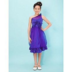Knee-length Satin / Tulle Junior Bridesmaid Dress - Royal Blue A-line / Princess One Shoulder