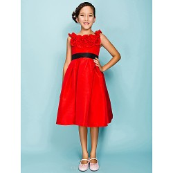Knee Length Taffeta Junior Bridesmaid Dress Ruby Ball Gown Princess Jewel
