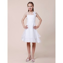 Knee-length Organza Junior Bridesmaid Dress - White A-line / Princess Spaghetti Straps