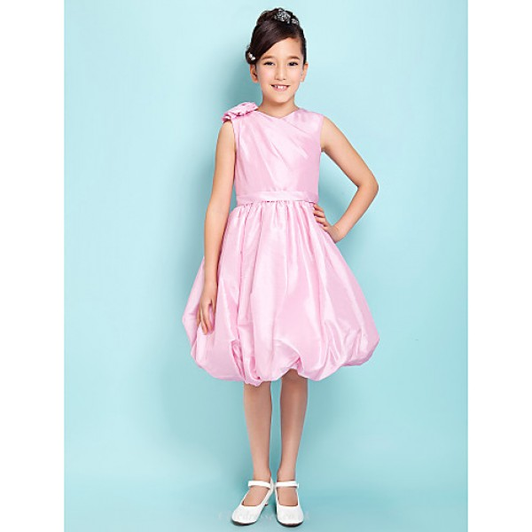 Knee-length Taffeta Junior Bridesmaid Dress - Blushing Pink Ball Gown V-neck Junior Bridesmaid Dresses