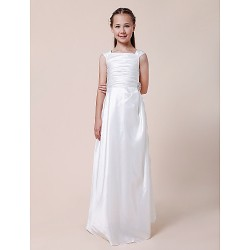 Floor Length Taffeta Junior Bridesmaid Dress White Sheath Column Square