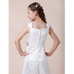 Floor-length Taffeta Junior Bridesmaid Dress - White Sheath/Column Square Junior Bridesmaid Dresses