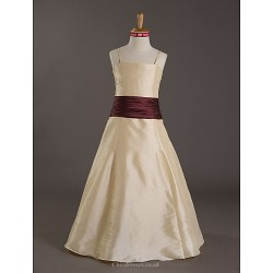 Floor-length Taffeta Junior Bridesmaid Dress - Champagne A-line / Princess Spaghetti Straps