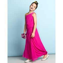 Ankle-length Chiffon Junior Bridesmaid Dress - Fuchsia Sheath/Column One Shoulder