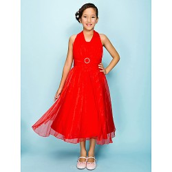 Tea-length Organza Junior Bridesmaid Dress - Ruby A-line / Princess Halter
