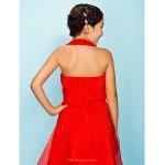 Tea-length Organza Junior Bridesmaid Dress - Ruby A-line / Princess Halter Junior Bridesmaid Dresses