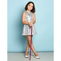 Short Mini Sequined Junior Bridesmaid Dress Silver A Line Jewel