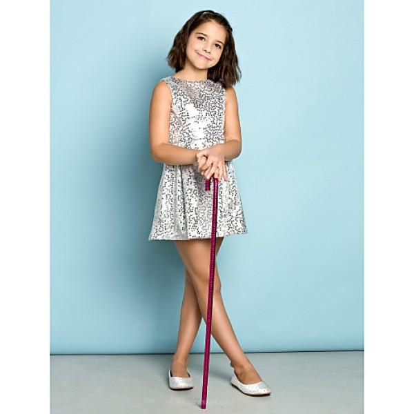 Short/Mini Sequined Junior Bridesmaid Dress - Silver A-line Jewel Junior Bridesmaid Dresses