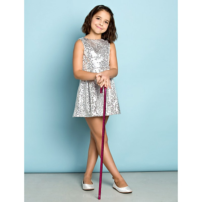 Short/Mini Sequined Junior Bridesmaid Dress - Silver A-line Jewel ...