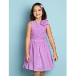Floor-length Chiffon Junior Bridesmaid Dress - Lilac A-line Jewel Junior Bridesmaid Dresses