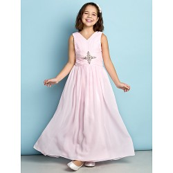 Ankle Length Chiffon Junior Bridesmaid Dress Blushing Pink A Line V Neck
