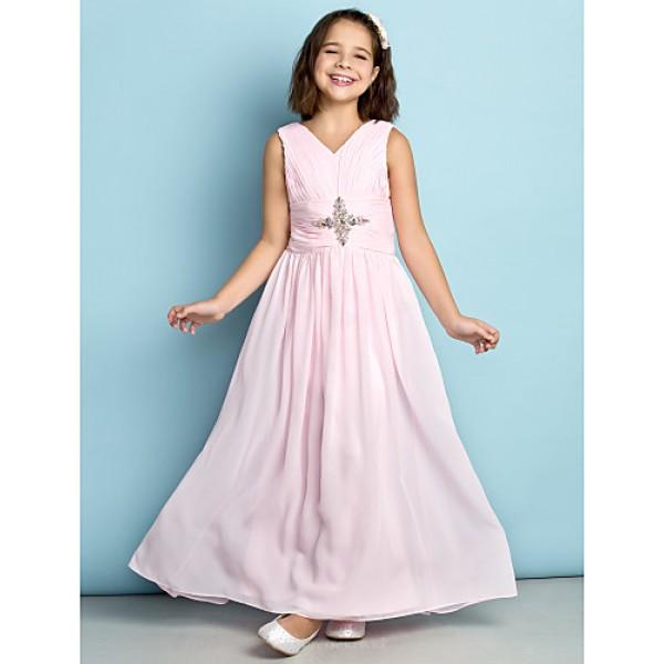 Ankle-length Chiffon Junior Bridesmaid Dress - Blushing Pink A-line V-neck Junior Bridesmaid Dresses