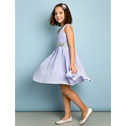 Knee Length Chiffon Junior Bridesmaid Dress Lavender A Line One Shoulder