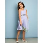 Knee-length Chiffon Junior Bridesmaid Dress - Lavender A-line One Shoulder Junior Bridesmaid Dresses