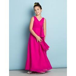 Ankle Length Chiffon Junior Bridesmaid Dress Fuchsia A Line V Neck