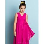 Ankle-length Chiffon Junior Bridesmaid Dress - Fuchsia A-line V-neck Junior Bridesmaid Dresses
