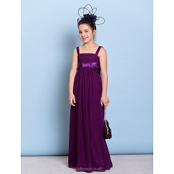 Floor Length Chiffon Junior Bridesmaid Dress Grape Sheath Column Straps