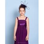 Floor-length Chiffon Junior Bridesmaid Dress - Grape Sheath/Column Straps Junior Bridesmaid Dresses